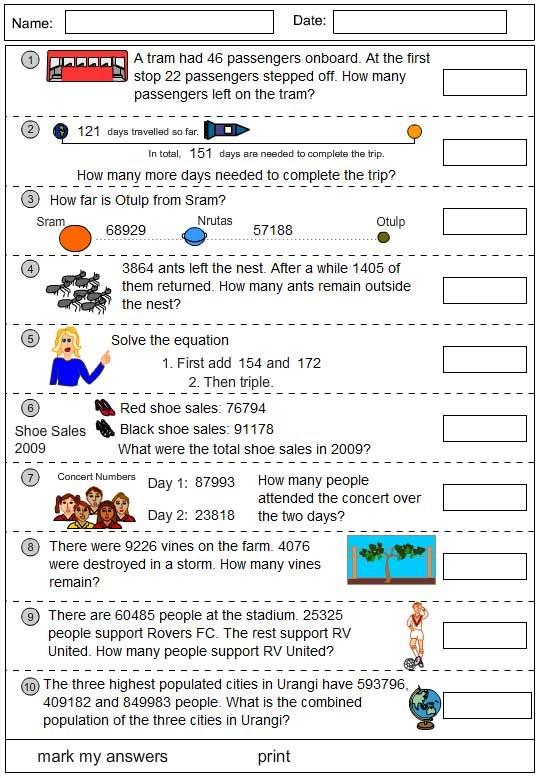 Subtraction worksheets problem solving