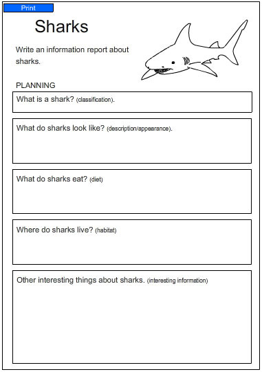 Free Worksheets study ladder worksheets : A Report about Sharks, English skills online, interactive ...