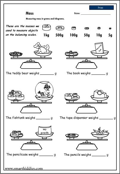 Free mass worksheets grade 1