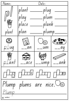 Pl Words Worksheets Moreover L Blend Words Worksheets Moreover Pl ...