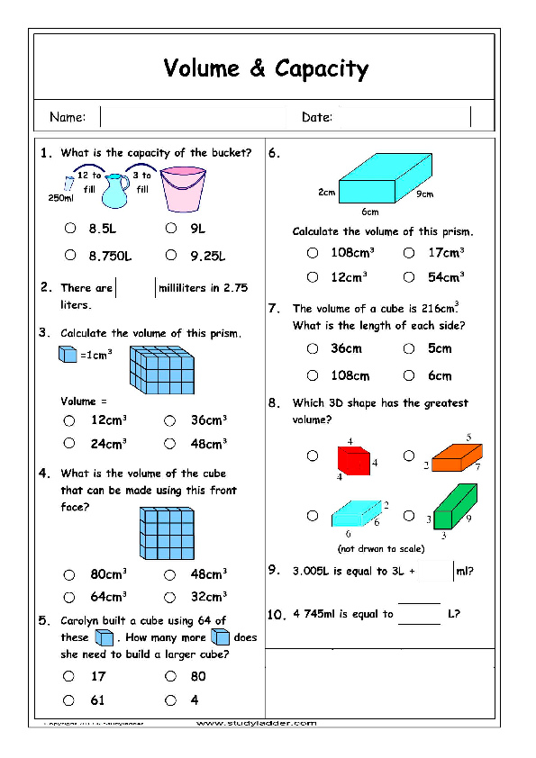 5th grade math volume worksheets free