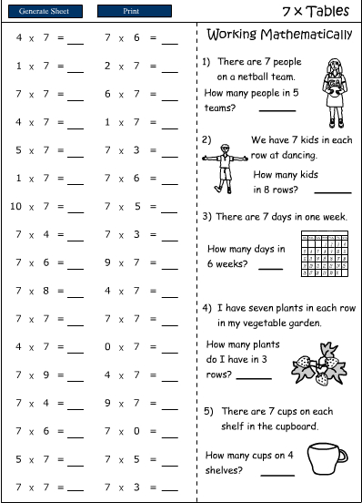 Multiplication Worksheets 7 Times Tables