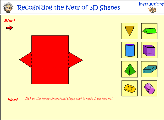 Recognizing The Nets Of 3d Objects Mathematics Skills