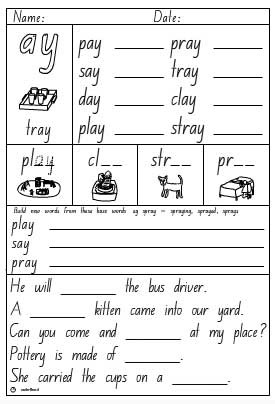 vowel digraph ay activity sheet english skills online interactive activity lessons. Black Bedroom Furniture Sets. Home Design Ideas