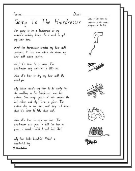 Going To The Hairdresser -Reading Response Activity Sheets ...
