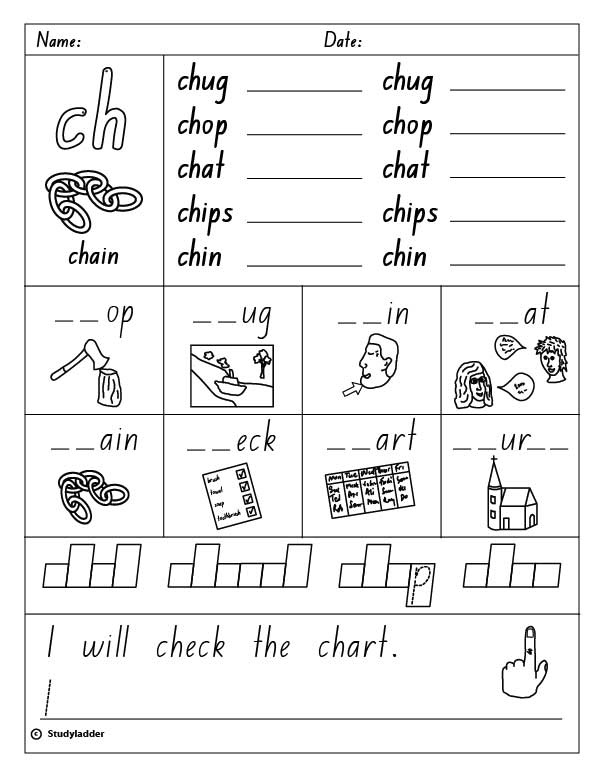 Consonant Digraph ch beginning sound English skills online – Consonant Digraphs Worksheets