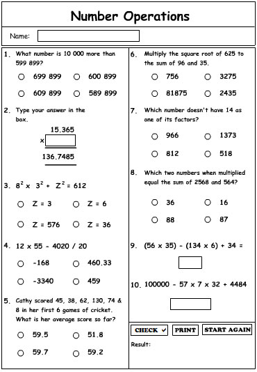 Number Operations 2 Extension