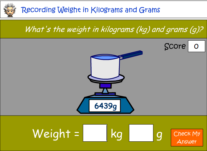 Measuring and recording weight in kilograms and grams