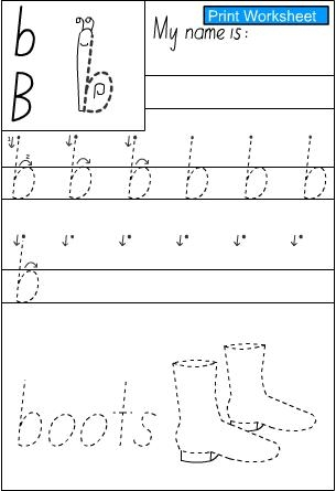 Letter b -Handwriting Sheet, English skills online, interactive ...