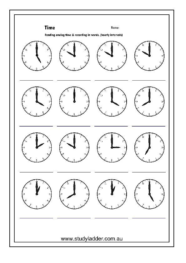 Reading an analog clock oclock Part 1 Mathematics skills – Analog Clock Worksheet