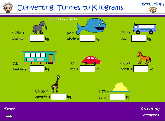 Converting tonnes to kilograms