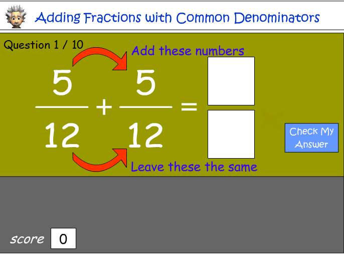 Adding fractions with common denominators