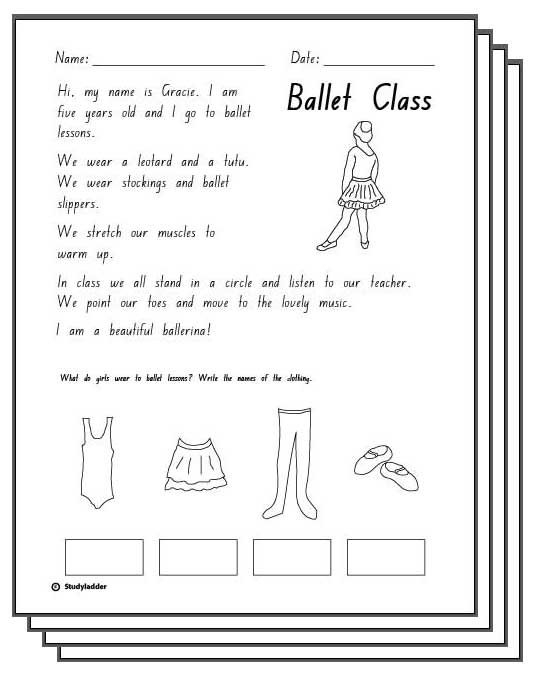 Ballet Class -Response Activity Sheet - Studyladder Interactive ...