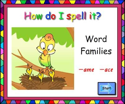 Word Families -ame and -ace