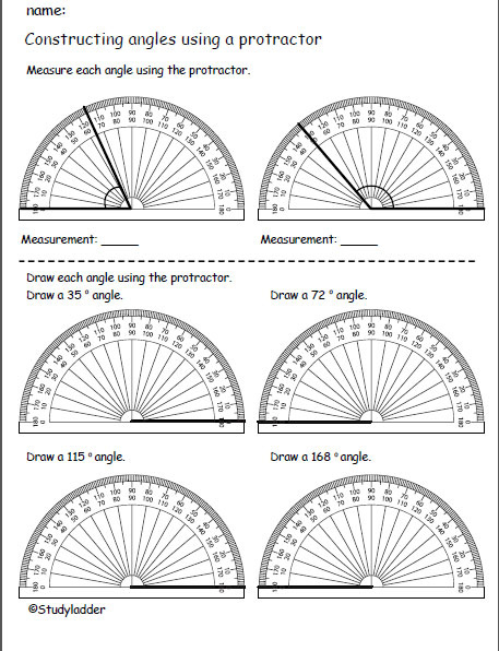 Measure and construct angles using a protractor, Mathematics skills ...