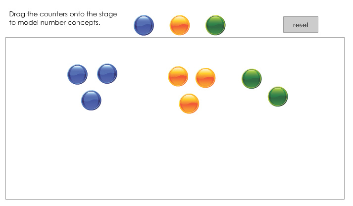 Counters for demonstrating concepts (counting, adding, subtracting etc)