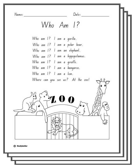 Who Am I -Response Activity Sheets - Studyladder Interactive ...