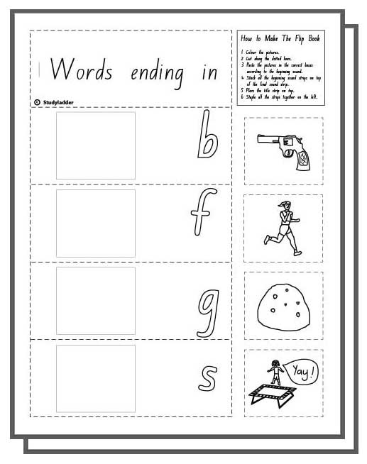 Make a Flip Book: Word Family \'un\', English skills online ...