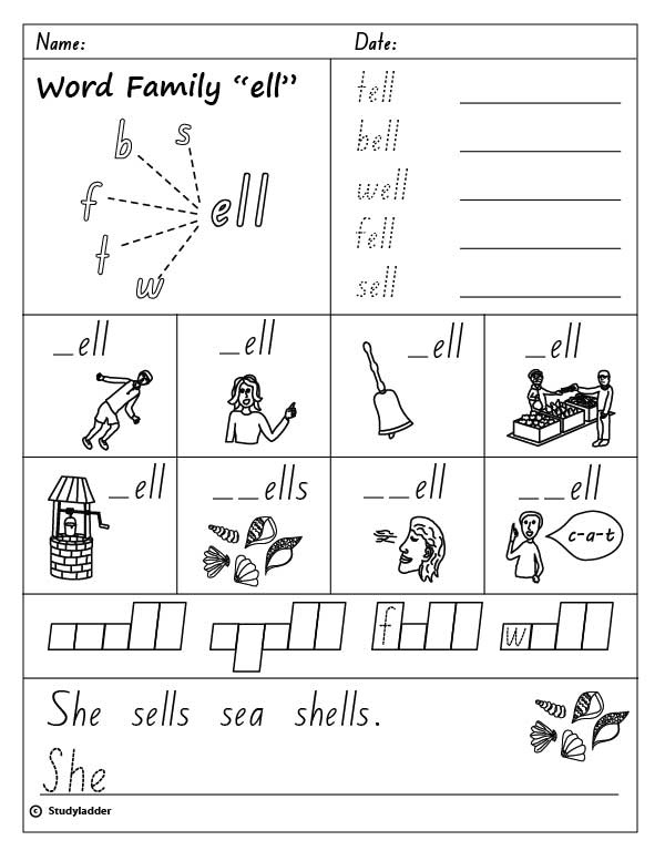 Collection of Ell Word Family Worksheets - Sharebrowse