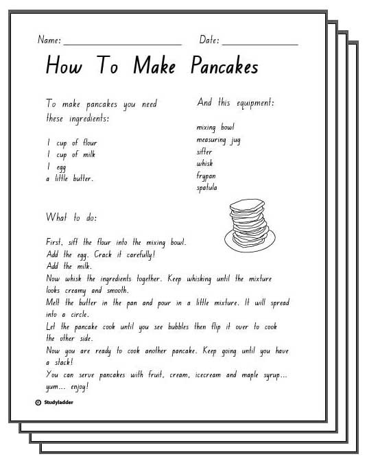 How to Make Pancakes Response Sheets, English skills online ...