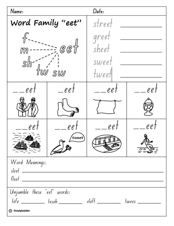 Word Family Eet English Skills Online Interactive Activity Lessons