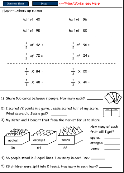 Halving numbers, Mathematics skills online, interactive activity lessons