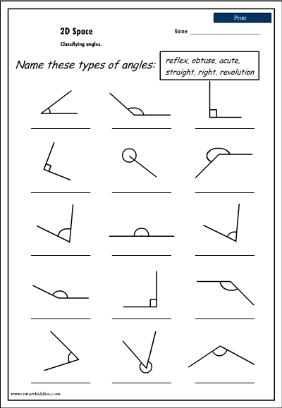 math worksheet : free printable worksheets identifying angles  worksheets for kids  : Angle Math Worksheets