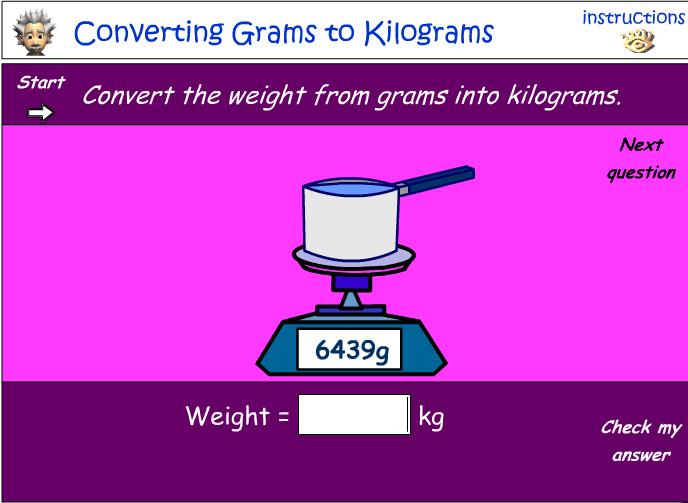 Converting grams to kilograms - includes decimals