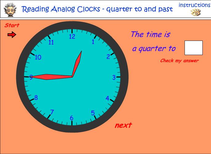 Quarter to and past the hour - analog clocks