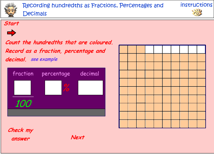 Recording hundredths as fractions, decimals and percentages
