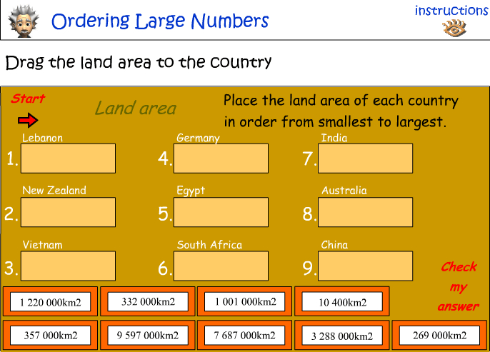 Ordering large numbers - land area