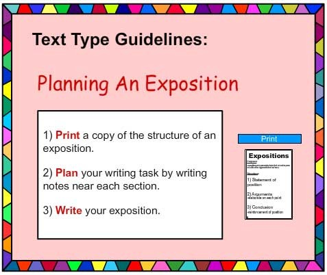 exposition in writing Hi, expository writing is any piece of writing meant to shed light or explain a topic/idea usually an expository essay benefits from specific details, accurate research/commentaries from experts, an organized (easy to navigate through) structure and shorter more precise sentences.