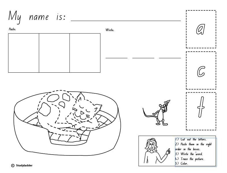 Cut Paste And Write The Word 'cat' English Skills Online. Cut Paste And Write The Word 'cat' English Skills Online Interactive Activity Lessons. Kindergarten. Cvc Cut And Paste Worksheets For Kindergarten At Mspartners.co