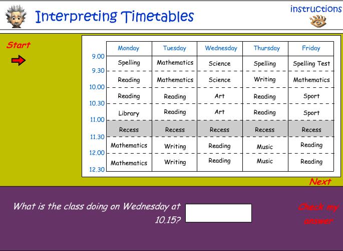 Interpreting timetables