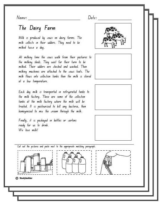 The Dairy Farm Reading Response Activity Sheets ...