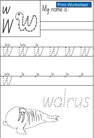 letter w handwriting sheet studyladder interactive learning games. Black Bedroom Furniture Sets. Home Design Ideas