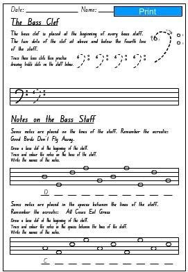 Bass Staff Activity Sheet