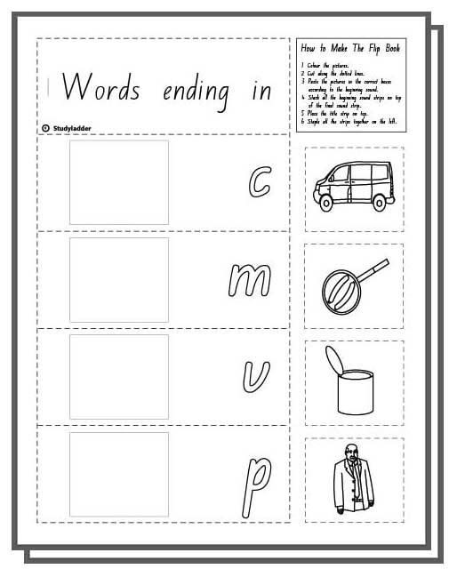 make a flip book  word family  u0026 39 an u0026 39