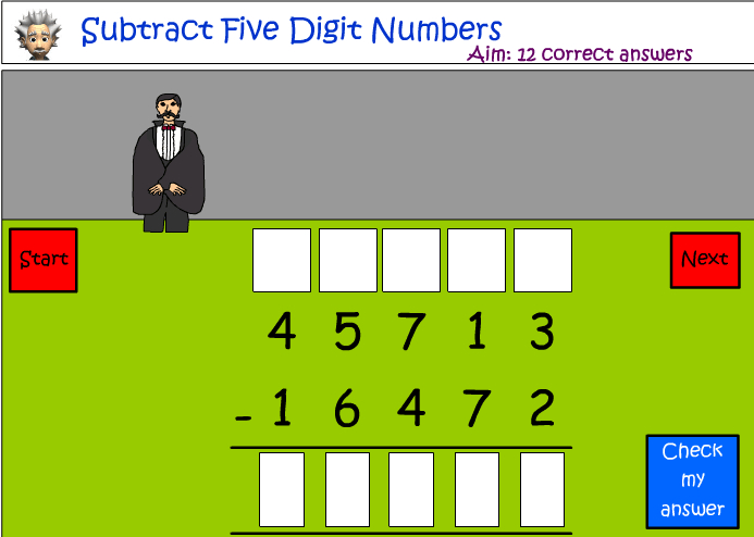 Subtraction of five digit numbers
