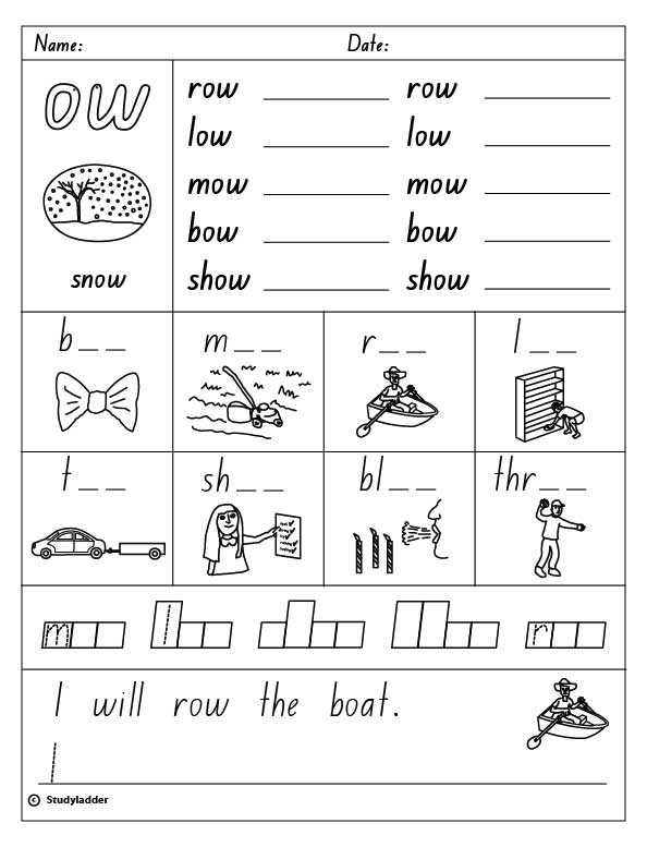Vowel Digraph ow as in snow English skills online interactive – Ow Worksheets