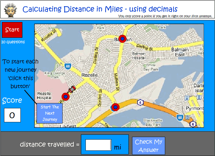 Calculating distance in miles
