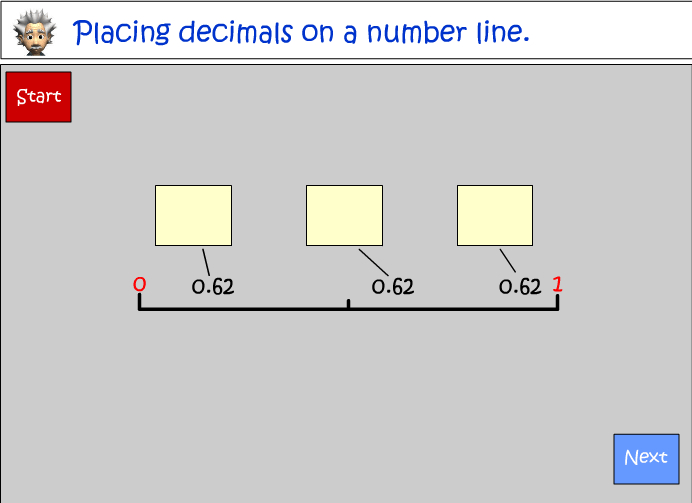 Placing decimals on a number line