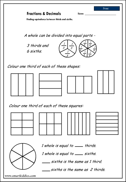 equivalence thirds and sixths studyladder interactive learning games