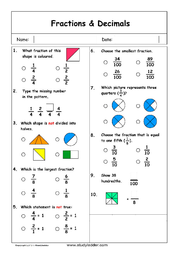 Studyladder online english literacy mathematics Kids activity – Fraction Problem Solving Worksheets