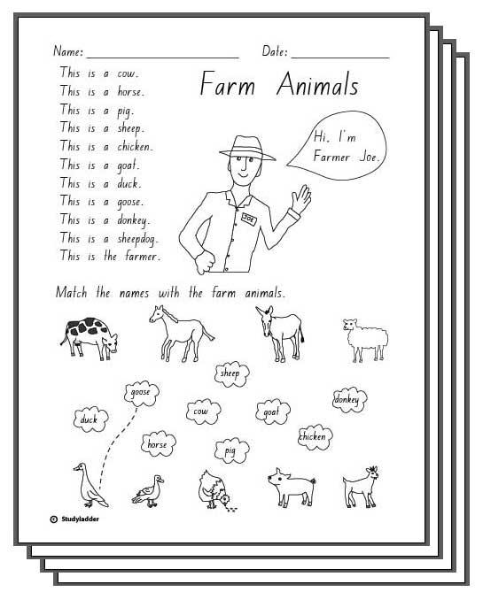 Farm Animals -Response Sheets, English skills online, interactive ...