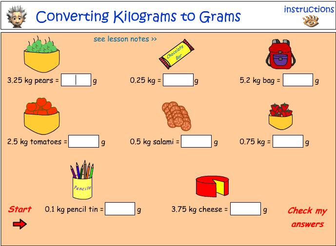 Converting kilograms to grams