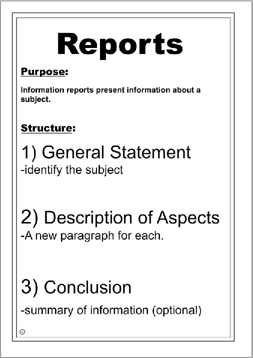 writing reports - template structure