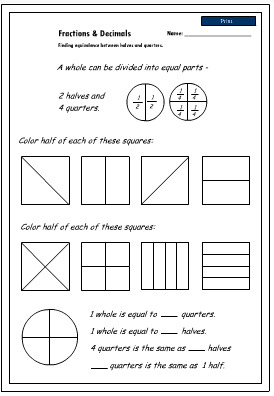 math worksheet : equivalence  halves and quarters mathematics skills online  : Fractions Quarters Worksheets