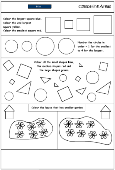 Comparing Area Mathematics Skills Online Interactive Activity Lessons