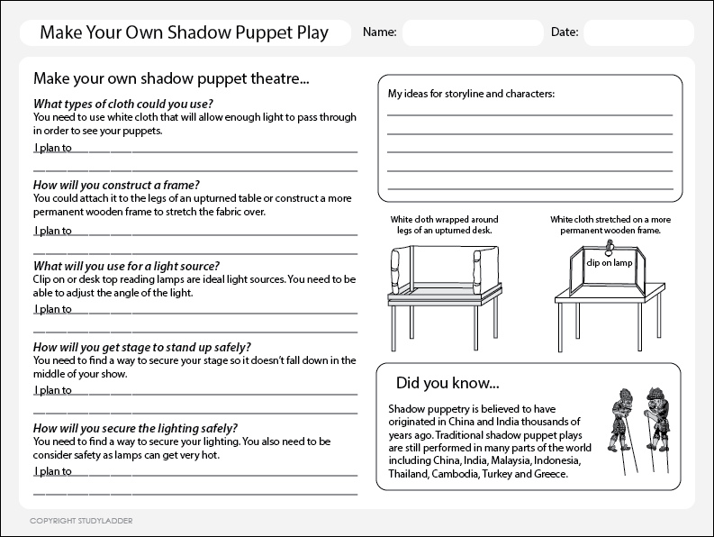 Make A Shadow Puppet Theatre - Studyladder Interactive